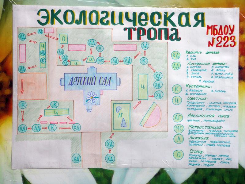 Карта схема экологической тропы в детском саду